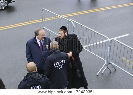 Hasidic community member with NYPD