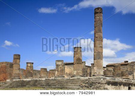 Ruined Columns In Pompeii