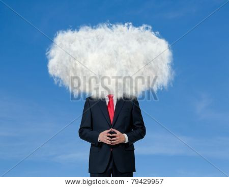 Businessman With Cloud On His Head