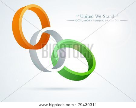 National flag color wristbands for Happy Indian Republic Day celebration on shiny sky blue background.