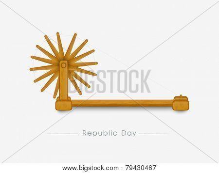 Stylish wooden spinning wheel isolated on white background for Indian Republic Day celebration.