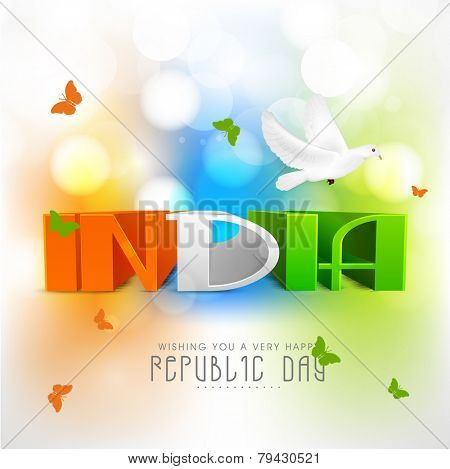 Elegant greeting card design with 3D tricolor text India, flying butterflies and pigeon on shiny background for Indian Republic Day celebration.
