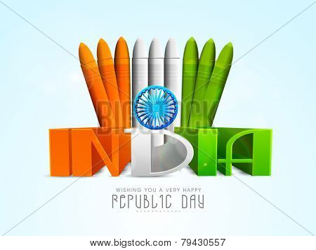 Indian Republic Day celebration with 3D text India in tricolor written by wax crayons on sky blue background.