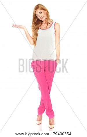 Girl in a white shirt and pink pants