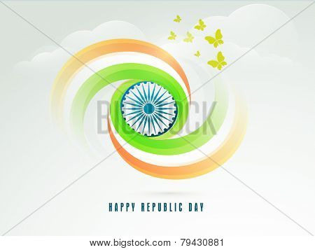 Happy Indian Republic Day celebration concept with Ashoka Wheel, national tricolor and flying butterflies on cloudy sky blue background.