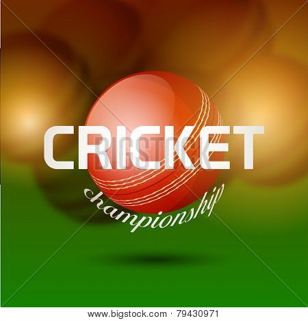 Glossy red ball for Cricket Championship on shiny brown and green background.