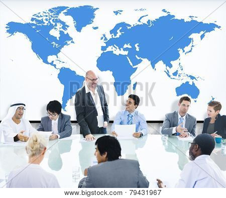 Business People Meeting Boardroom Leader World Map Concept
