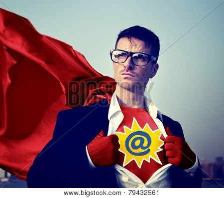 Address Strong Superhero Success Professional Empowerment Stock Concept