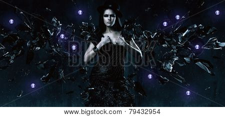 Sexy Adult Woman In Black Dress With Glass Wings