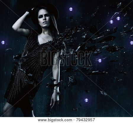 Sexy Brunette Woman In Black Dress With Broken Glass