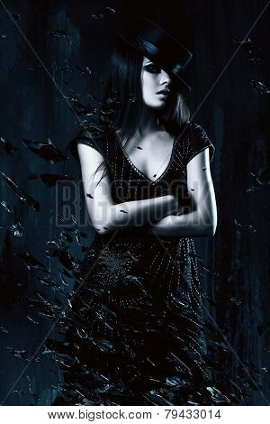 Woman In Black Dress With Hat And Broken Glass