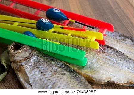 Dried Roach - Vobla And Fishing Equipment With Float