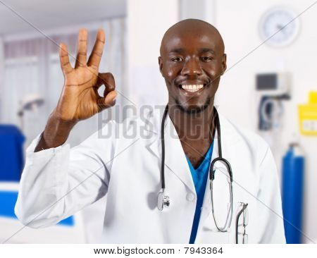 happy african doctor