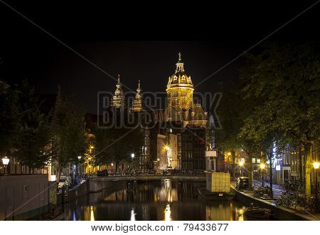 Amsterdam Night: Church Of Saint Nicholas
