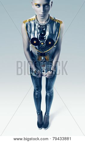 Bizarre Space Woman In Silver Costume