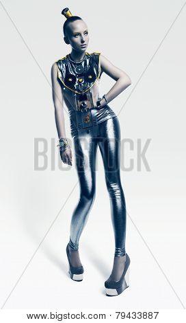 Futuristic Woman In Cold Silver Costume