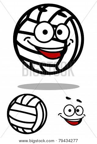 Cartoon white volleyball ball character