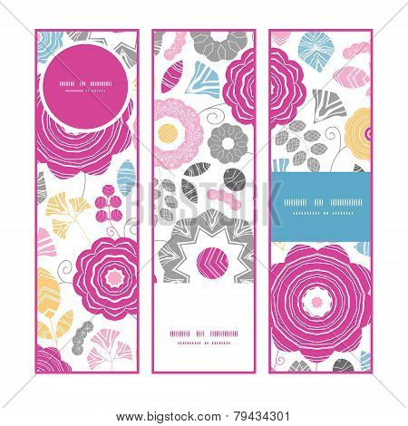 Vector vibrant floral scaterred vertical banners set pattern background