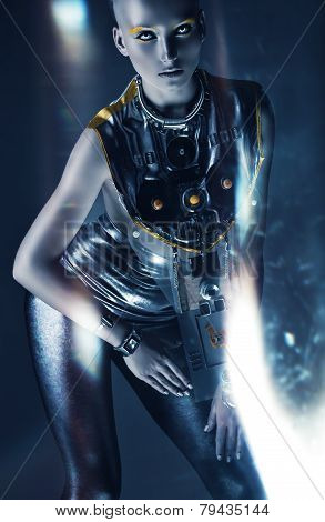 Space Woman Posing In Light Abstract