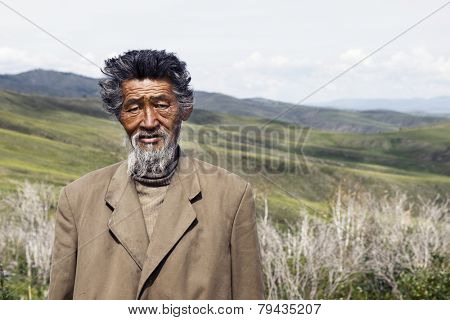 Senior Mongolian man. Please see more of my travel portraits.