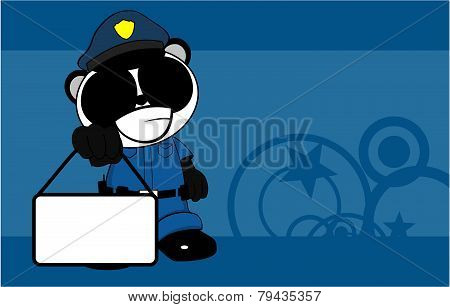panda teddy bear cop cartoon background