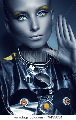Space Woman With Hand Near Face
