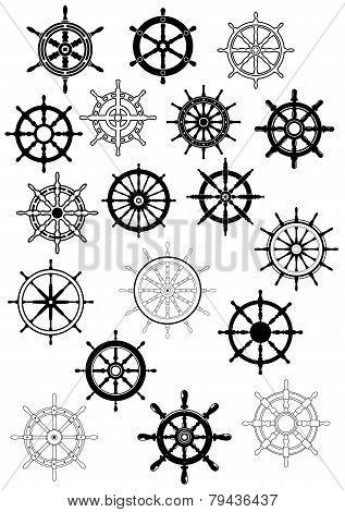 Ship wheel in retro style icon set