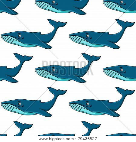 Smiling cartooned blue whales seamless background
