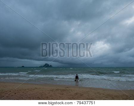 Stormy seascape. Ao Nang Krabi, Thailand