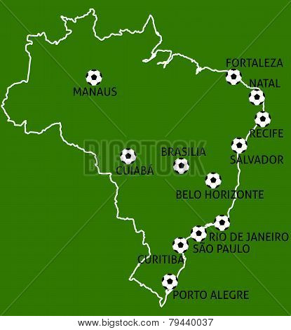 Brazil Cities Map Balls