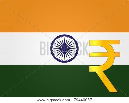 Rupee Currency Sign Over The Indian Flag