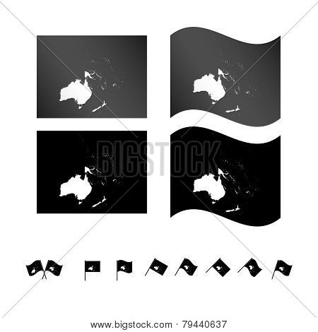 Flags With Oceania Map