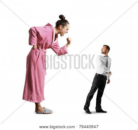 emotional woman screaming at small scared man. isolated on white background