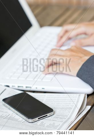 Business Woman Hands Working With Laptop.
