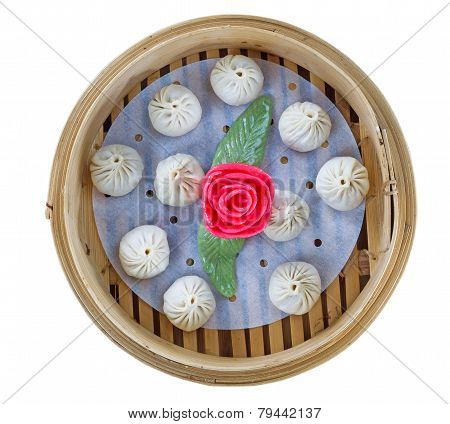 Uncooked Chinese Dim Sum In Server Isolated On White