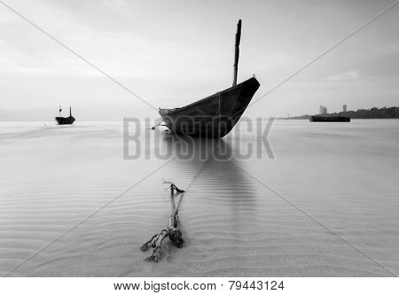 The Fishing Boat In Black And White At Kon Ao Beach, Rayong, Thailand
