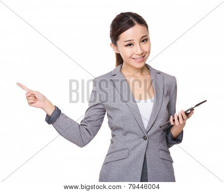 Businesswoman hold with tableta and pen point up