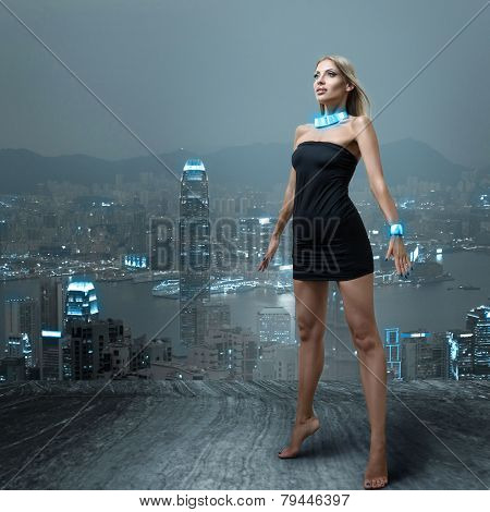 Futuristic Woman In Night City