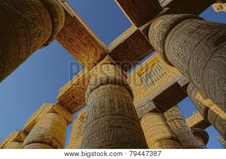columns in karnak temple with ancient egypt hieroglyphics - HDR image
