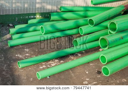 Green color plastic tubes for industry