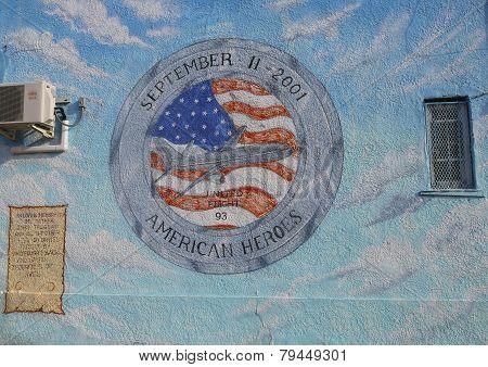 Mural in the memory of United Flight 93 in Brooklyn