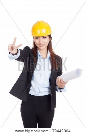 Asian Engineer Woman Show V Sign With Blueprints