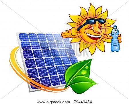 Solar Panel With Cartoon Sun Eco Concept
