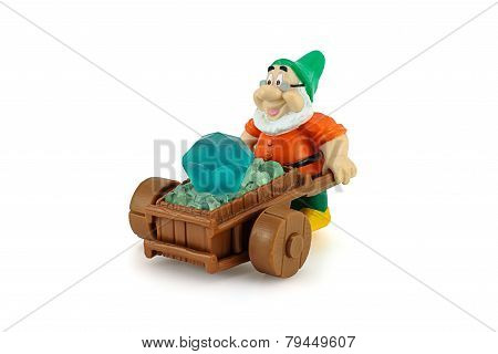 Grumpy Character Form 7 Dwarfs Pushing Wheelbarrow With A Diamons.