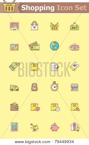 Set of the simple shopping related icons