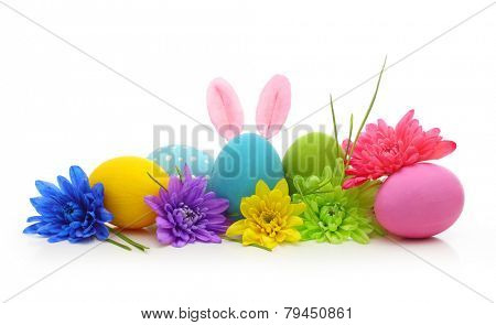 Easter colorful eggs with bunny ears isolated on white background