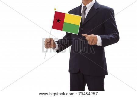 Businessman with Guinea Bissau Flag