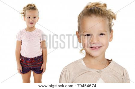 Portrait of beautiful little girls, studio on white background