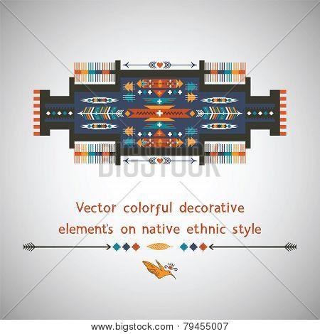 Colorful decorative element on native ethnic style