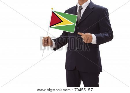Businessman with Guyana Flag
